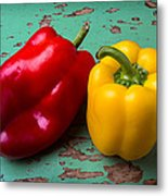 Yellow And Red Bell Pepper Metal Print