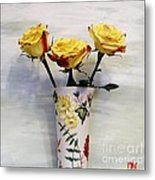 Yellow And Red Tipped Roses Metal Print