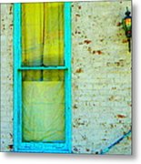 Art Deco Lamp And Yellow And Turquoise Window Metal Print