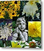 Yellow And White Flower Collage Metal Print