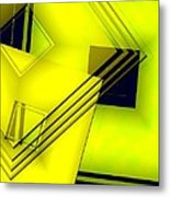 Yellow Art With Lines And Transparency Metal Print by Mario Perez