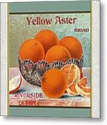 Yellow Aster Brand Oranges Vertical Metal Print