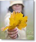 Yellow Autumn Leaf Metal Print
