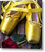 Yellow Ballet Shoes Metal Print