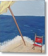 Yellow Beach Umbrella And Chair 3 Metal Print