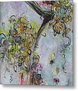 Yellow Blossoms Painting Flowr Butterflies Art Abstract Modern Spring Color Flower Art Metal Print