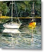 Yellow Boat Sister Bay Metal Print
