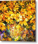 Yellow Bouquet - Palette Knife Oil Painting On Canvas By Leonid Afremov Metal Print