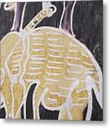 Yellow Brown Elephant In The Bush. Metal Print