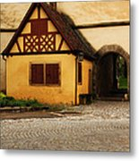 Yellow Building And Wall In Rothenburg Germany Metal Print