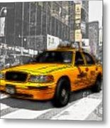 Yellow Cab At The Times Square -comic Metal Print