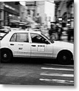 Yellow Cab Blurring Past Crosswalk And Pedestrians New York City Usa Metal Print