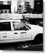 Yellow Cab With Advertising Hoarding Blurring Past Crosswalk And Pedestrians New York City Usa Metal Print