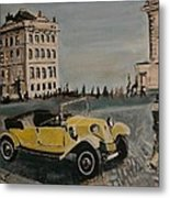 Yellow Car In Prague Metal Print