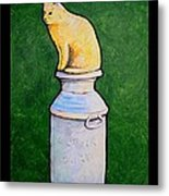 Yellow Cat On Milk Can Metal Print