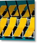 Yellow Chairs Reflected Metal Print