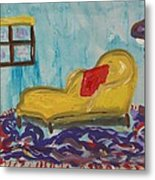 Yellow Chaise-red Pillow Metal Print