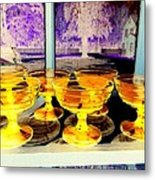 Yellow Cups Metal Print