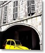 Yellow Deux Chevaux In Shadow Metal Print