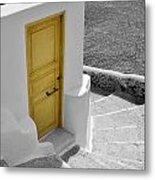 Yellow Door Of Oia Metal Print