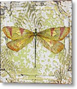 Yellow Dragonfly On Vintage Tin Metal Print