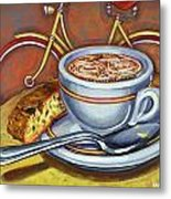 Yellow Dutch Bicycle With Cappuccino And Biscotti Metal Print