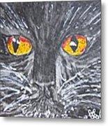 Yellow Eyed Black Cat Metal Print