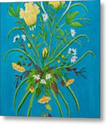 Yellow Floral Enchantment In Turquoise Metal Print