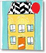 Yellow Flower House Metal Print by Linda Woods