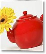 Yellow Flower In A Red Teapot Metal Print