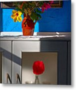 Yellow Flower In A Vase Of Clay. Metal Print