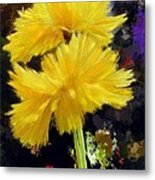 Yellow Flower With Splatter Background Metal Print