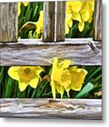 Yellow Flowers By The Bench Metal Print