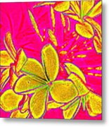 Yellow Flowers On Pink Background Metal Print