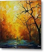 Yellow Fog 2 - Palette Knife Oil Painting On Canvas By Leonid Afremov Metal Print