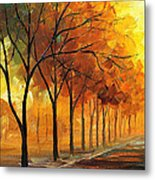 Yellow Fog - Palette Knife Oil Painting On Canvas By Leonid Afremov Metal Print