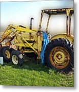 Yellow Ford Tractor Metal Print