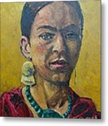 Yellow Frida Metal Print