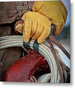 Yellow Gloves Metal Print
