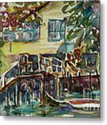 Yellow House By The River Metal Print