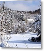 Yellow House In Winter Metal Print