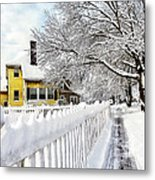 Yellow House With Snow Covered Picket Fence Metal Print