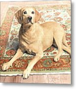 Yellow Lab On A Rug Watercolor Portrait Metal Print