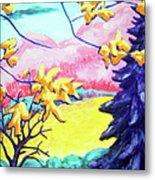 Yellow Leaves On Pink Hills Metal Print