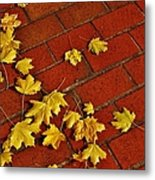 Yellow Leaves On Red Brick Metal Print