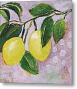 Yellow Lemons On Purple Orchid Metal Print by Jen Norton