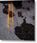 Yellow Line In The Grey 2  Metal Print