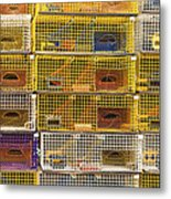Yellow Lobster Traps In Maine Metal Print