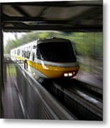 Yellow Monorail Entering The Station 02 Metal Print