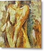 Yellow Nude Metal Print